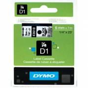 Dymo teksttape D1 43610 6mm  Sort/Klar